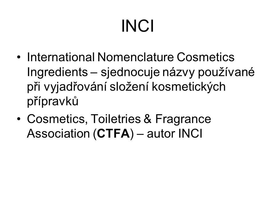 INCI International Nomenclature Cosmetics Ingredients – sjednocuje názvy používané při vyjadřování složení kosmetických přípravků.