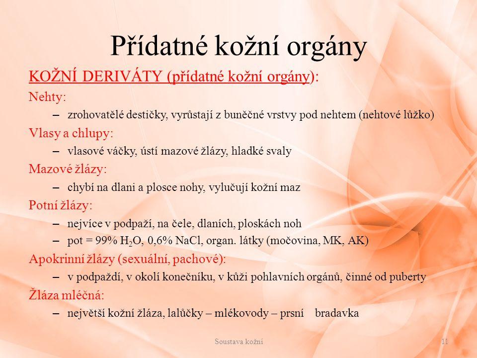 Přídatné kožní orgány KOŽNÍ DERIVÁTY (přídatné kožní orgány): Nehty: