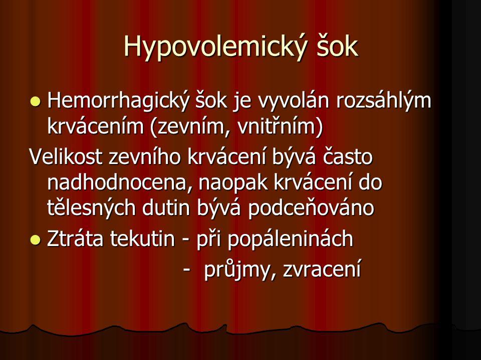 Hypovolemický šok Hemorrhagický šok je vyvolán rozsáhlým krvácením (zevním, vnitřním)