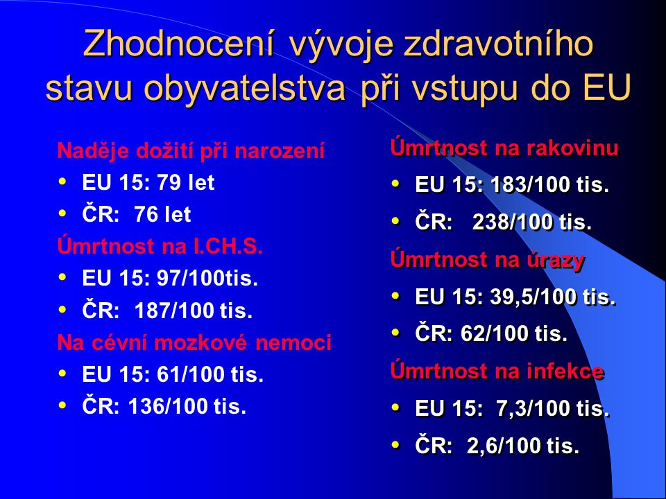 Zhodnocení vývoje zdravotního stavu obyvatelstva při vstupu do EU