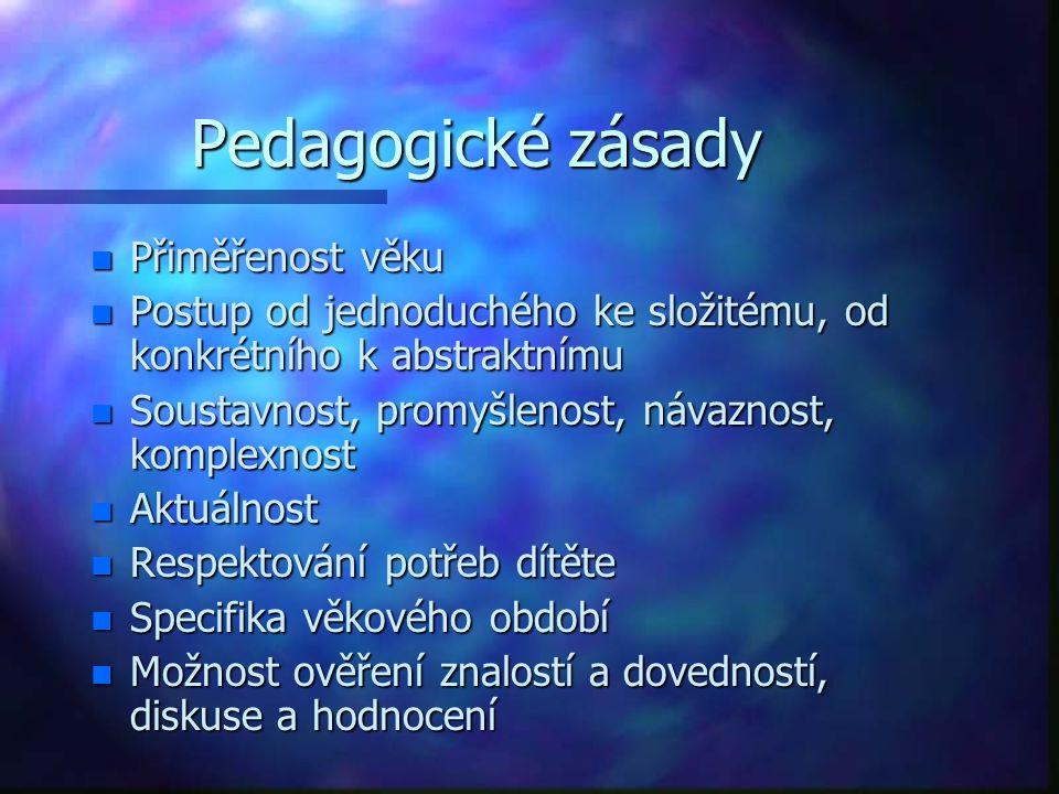 Pedagogické zásady Přiměřenost věku