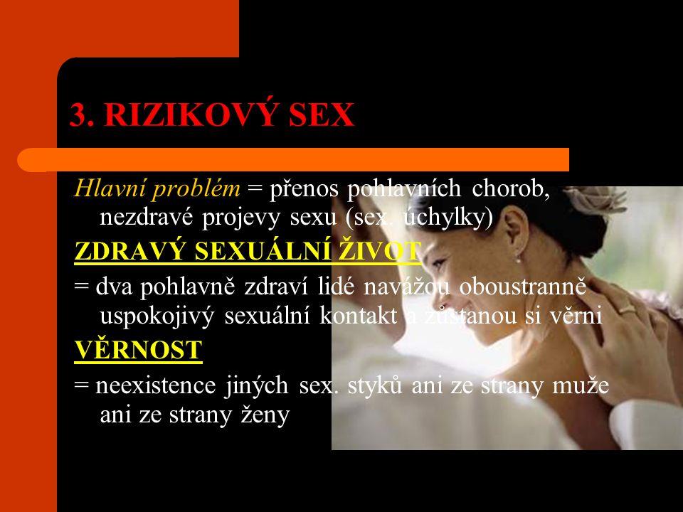 3. RIZIKOVÝ SEX Hlavní problém = přenos pohlavních chorob, nezdravé projevy sexu (sex. úchylky) ZDRAVÝ SEXUÁLNÍ ŽIVOT.