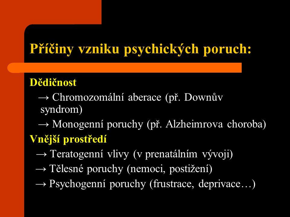 Příčiny vzniku psychických poruch:
