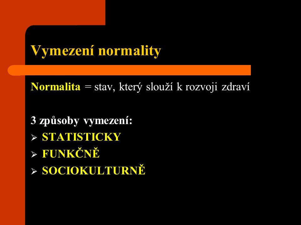 Vymezení normality Normalita = stav, který slouží k rozvoji zdraví