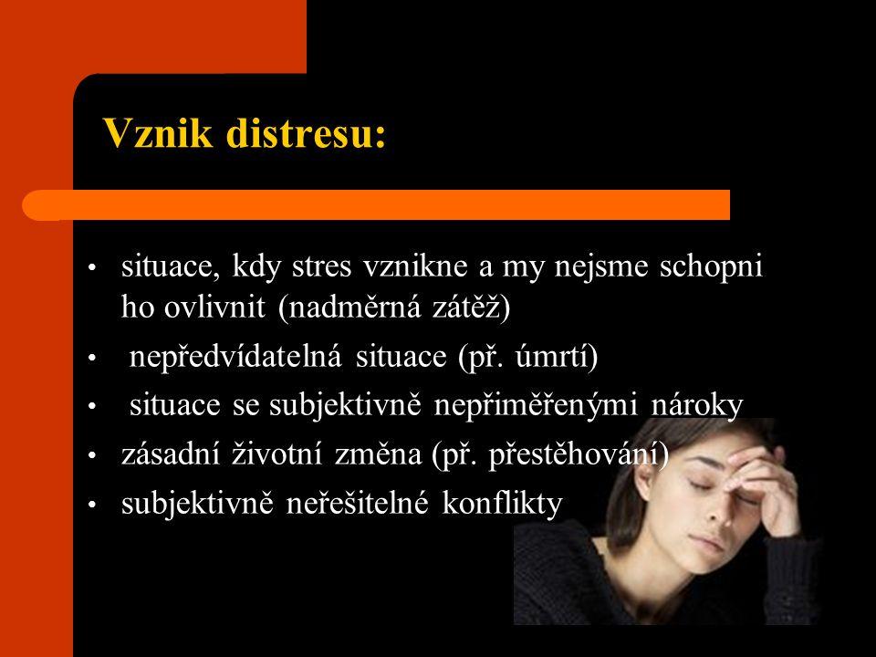 Vznik distresu: situace, kdy stres vznikne a my nejsme schopni ho ovlivnit (nadměrná zátěž) nepředvídatelná situace (př. úmrtí)