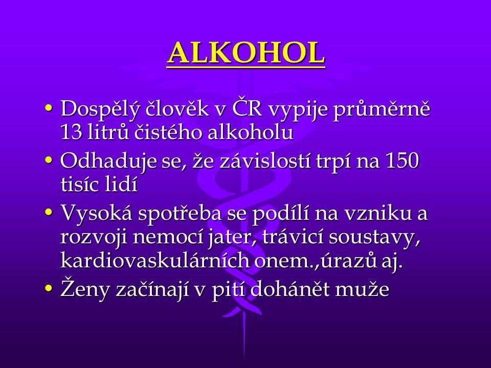 ALKOHOL Dospělý člověk v ČR vypije průměrně 13 litrů čistého alkoholu