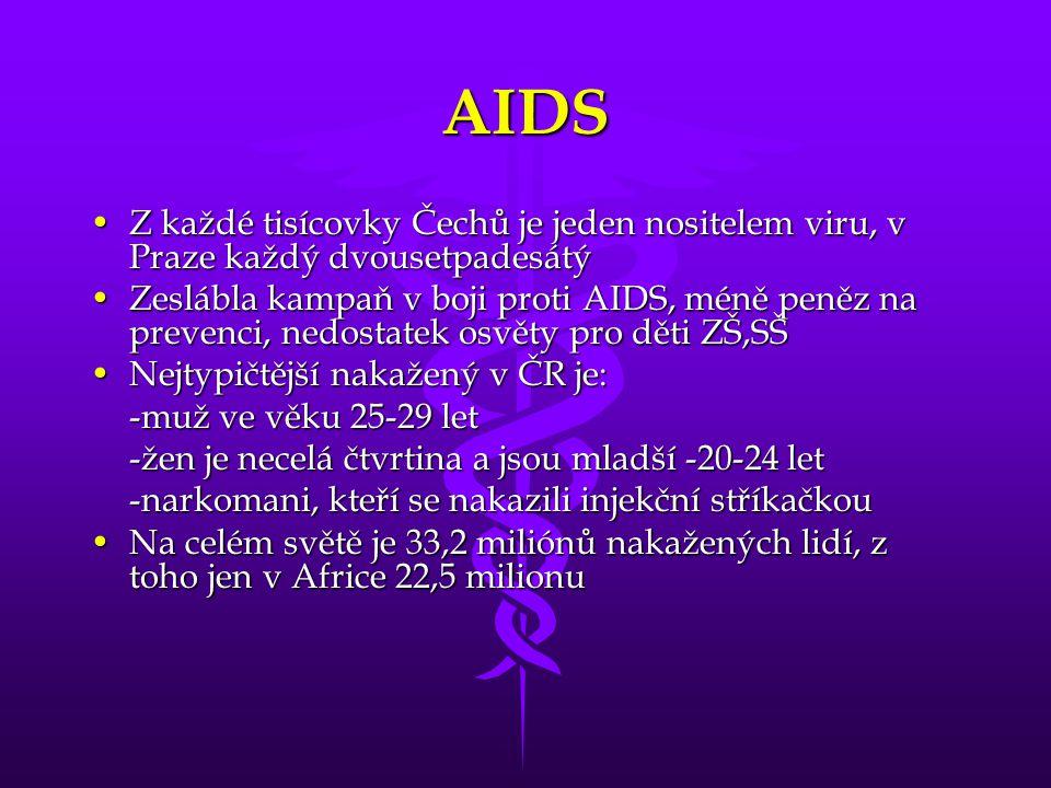AIDS Z každé tisícovky Čechů je jeden nositelem viru, v Praze každý dvousetpadesátý.