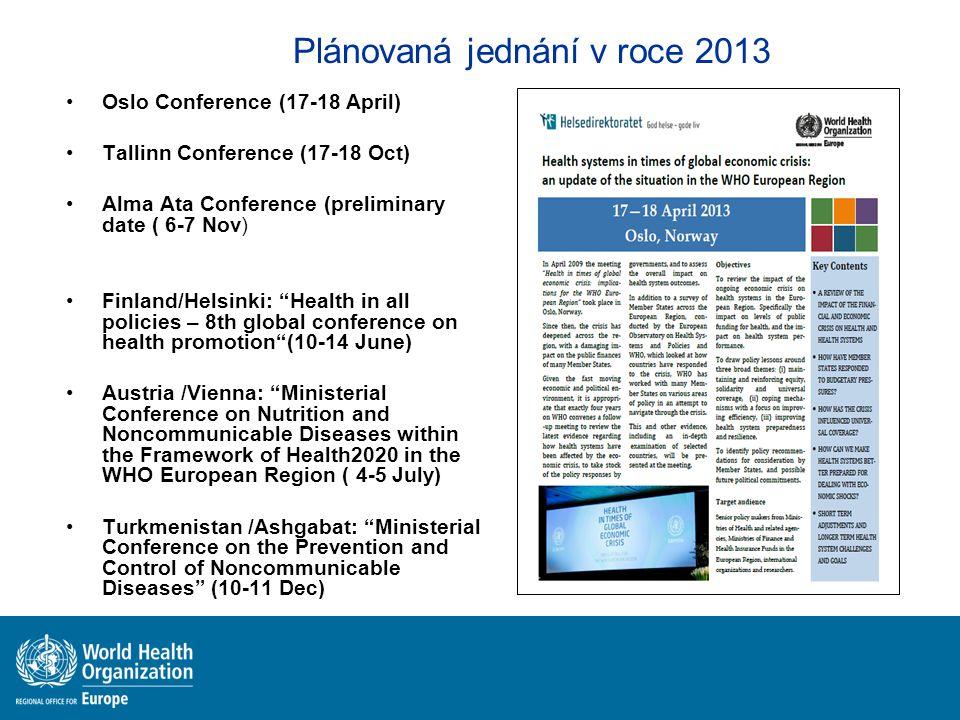 Plánovaná jednání v roce 2013
