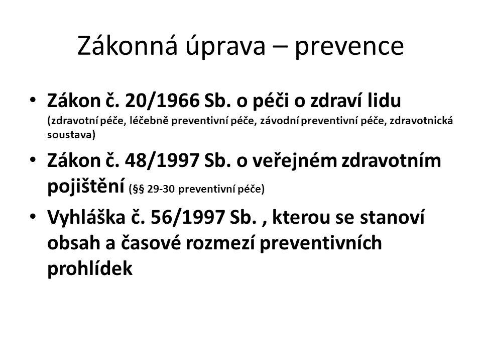 Zákonná úprava – prevence
