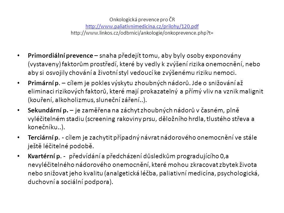 Onkologická prevence pro ČR http://www. paliativnimedicina
