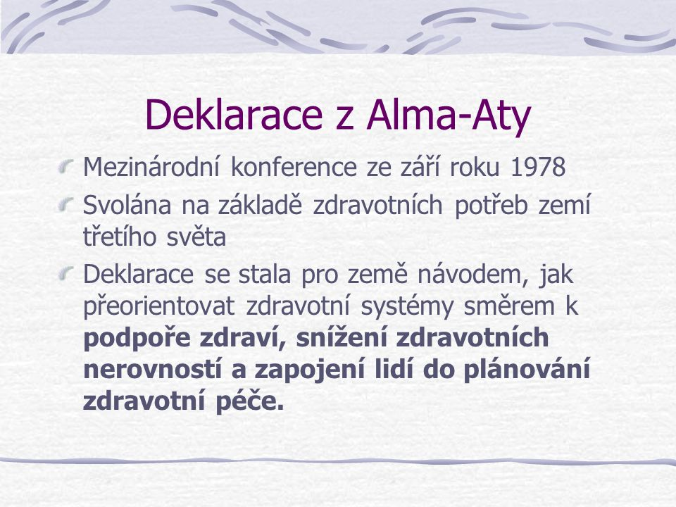 Deklarace z Alma-Aty Mezinárodní konference ze září roku 1978