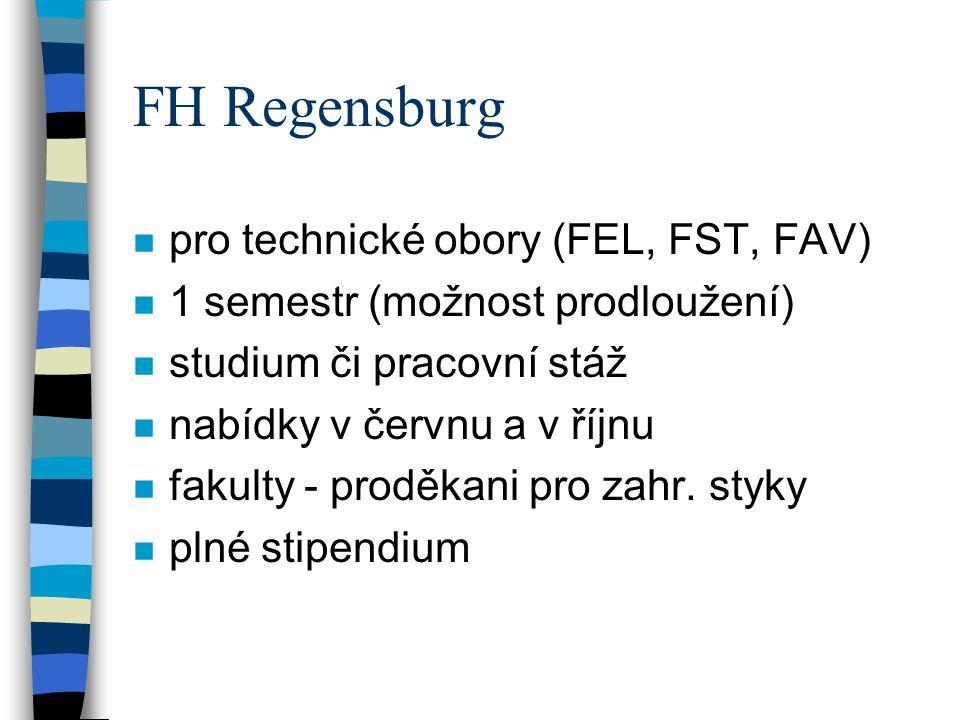 FH Regensburg pro technické obory (FEL, FST, FAV)
