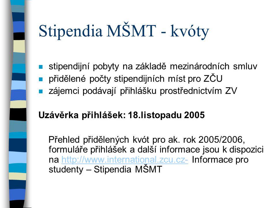 Stipendia MŠMT - kvóty stipendijní pobyty na základě mezinárodních smluv. přidělené počty stipendijních míst pro ZČU.