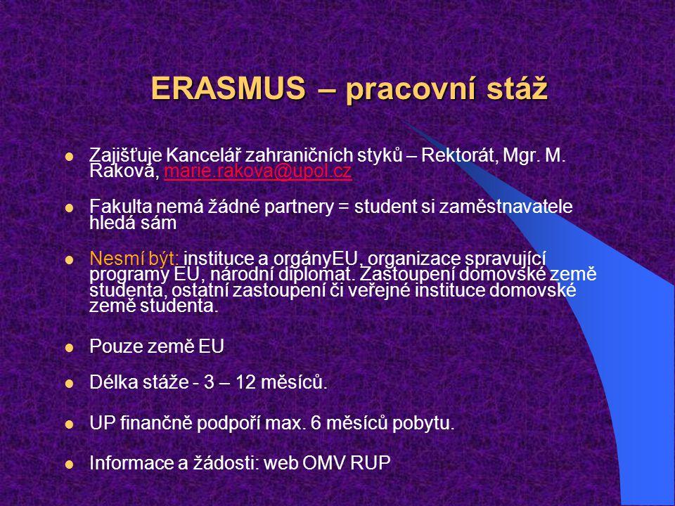 ERASMUS – pracovní stáž
