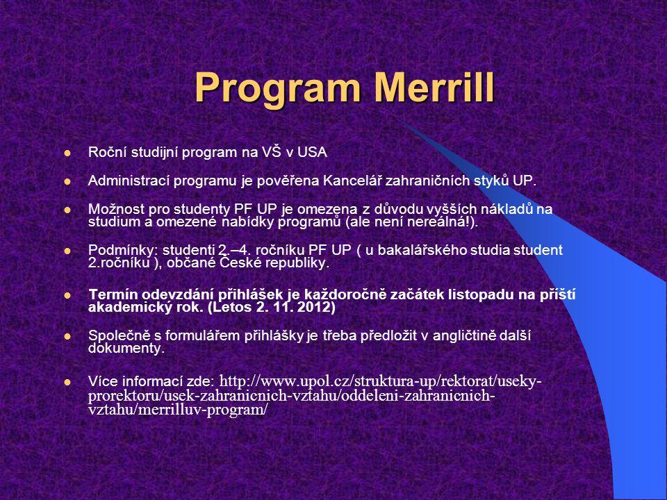 Program Merrill Roční studijní program na VŠ v USA