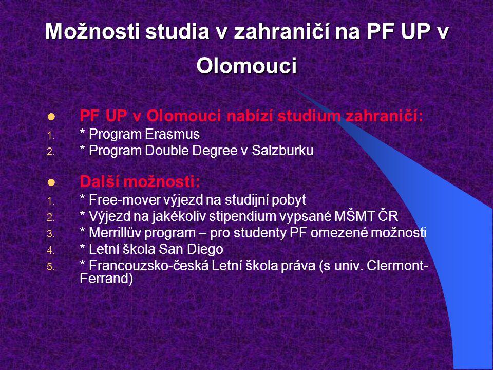 Možnosti studia v zahraničí na PF UP v Olomouci