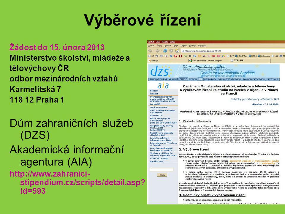 Výběrové řízení Dům zahraničních služeb (DZS)