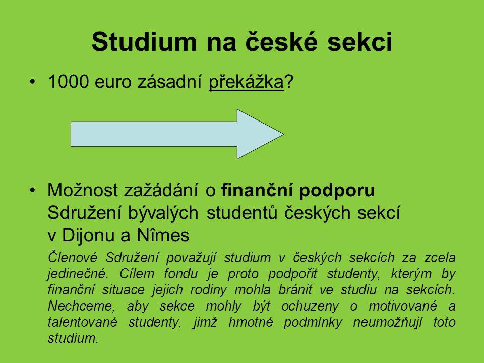 Studium na české sekci 1000 euro zásadní překážka