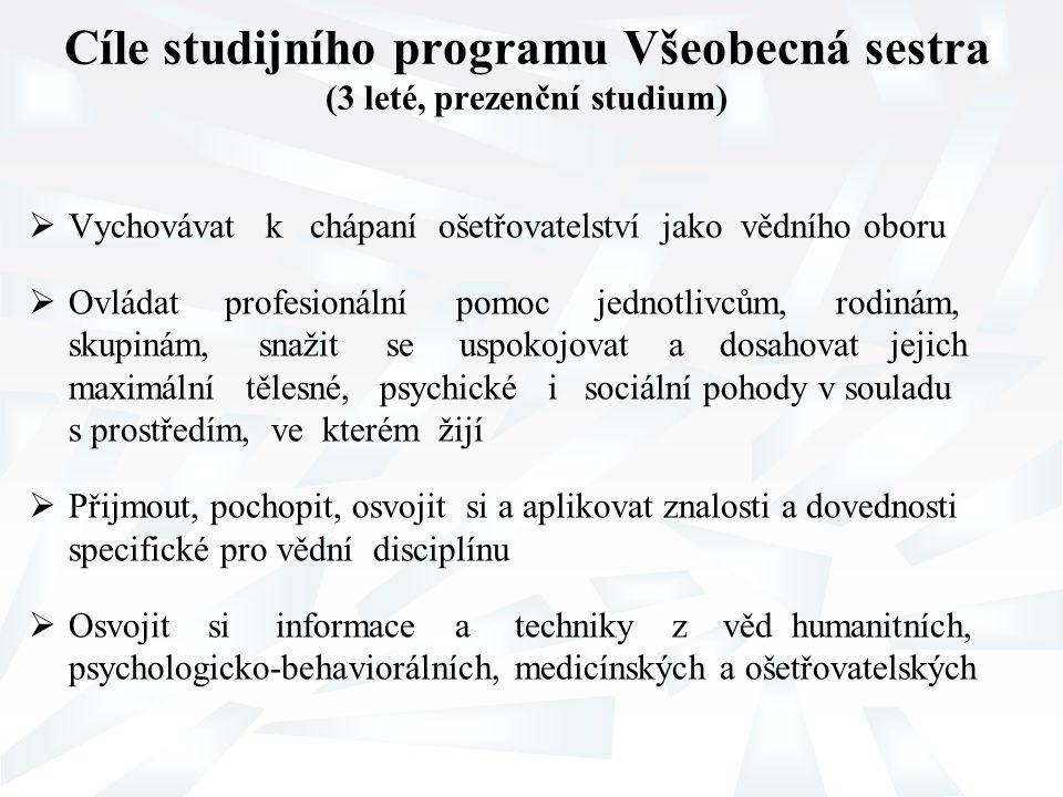 Cíle studijního programu Všeobecná sestra (3 leté, prezenční studium)