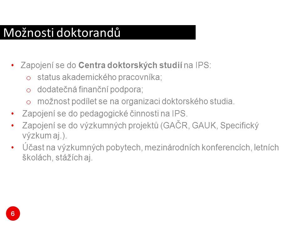 Možnosti doktorandů Zapojení se do Centra doktorských studií na IPS: