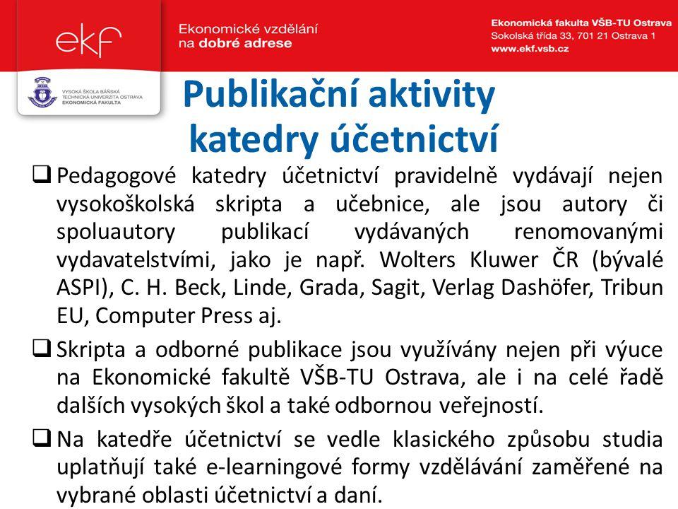 Publikační aktivity katedry účetnictví