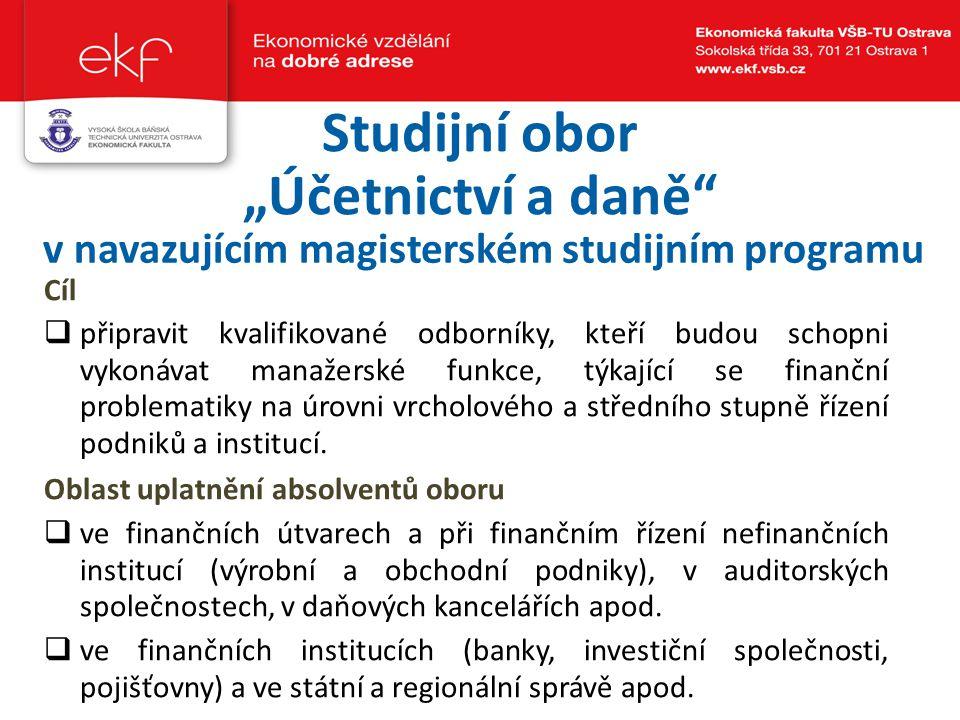 """Studijní obor """"Účetnictví a daně"""