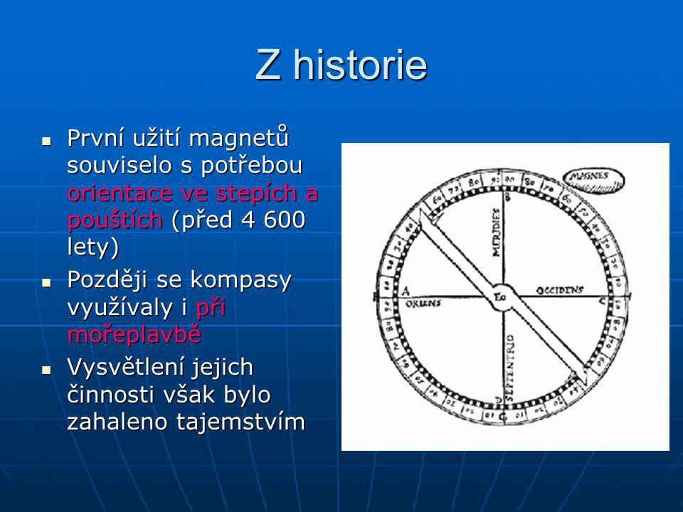 Z historie První užití magnetů souviselo s potřebou orientace ve stepích a pouštích (před 4 600 lety)