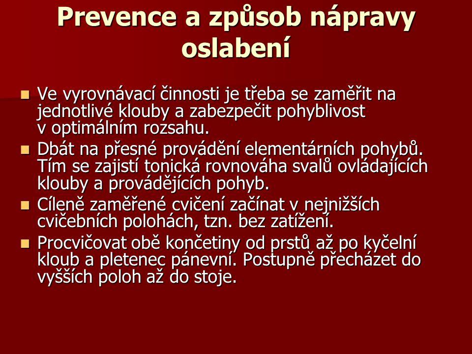 Prevence a způsob nápravy oslabení
