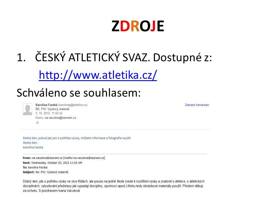 ZDROJE ČESKÝ ATLETICKÝ SVAZ. Dostupné z: http://www.atletika.cz/