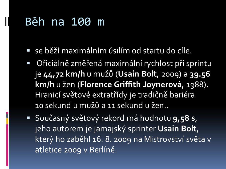 Běh na 100 m se běží maximálním úsilím od startu do cíle.