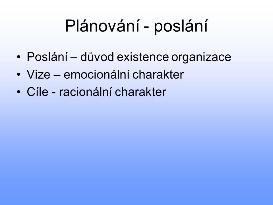 Plánování - poslání Poslání – důvod existence organizace