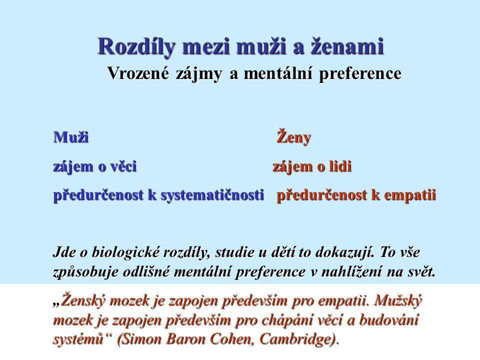 Vrozené zájmy a mentální preference Rozdíly mezi muži a ženami