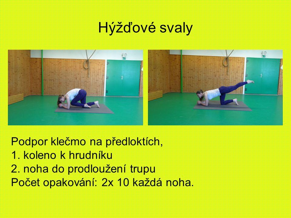 Hýžďové svaly Podpor klečmo na předloktích, 1. koleno k hrudníku