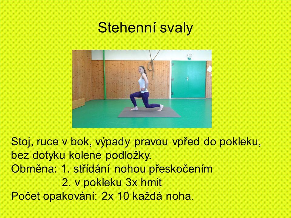 Stehenní svaly Stoj, ruce v bok, výpady pravou vpřed do pokleku, bez dotyku kolene podložky. Obměna: 1. střídání nohou přeskočením.