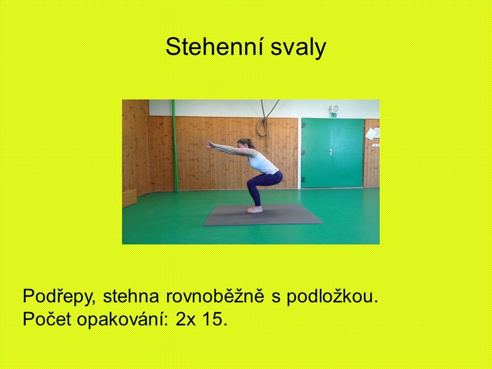 Stehenní svaly Podřepy, stehna rovnoběžně s podložkou.