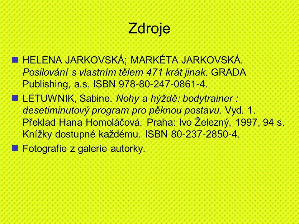 Zdroje HELENA JARKOVSKÁ; MARKÉTA JARKOVSKÁ. Posilování s vlastním tělem 471 krát jinak. GRADA Publishing, a.s. ISBN 978-80-247-0861-4.