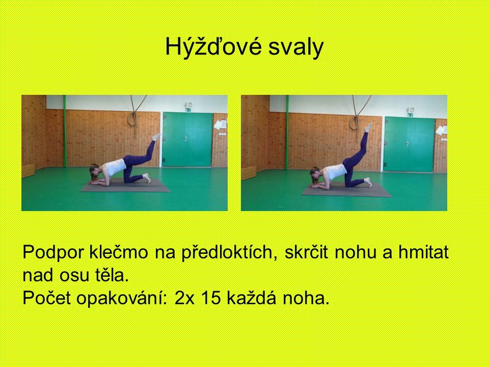 Hýžďové svaly Podpor klečmo na předloktích, skrčit nohu a hmitat