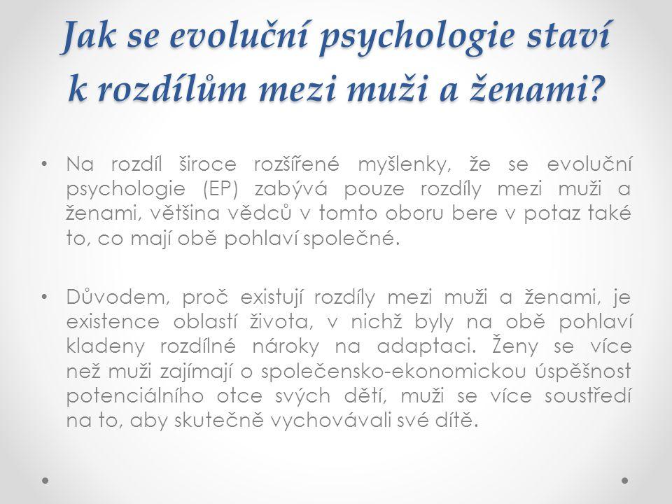 Jak se evoluční psychologie staví k rozdílům mezi muži a ženami