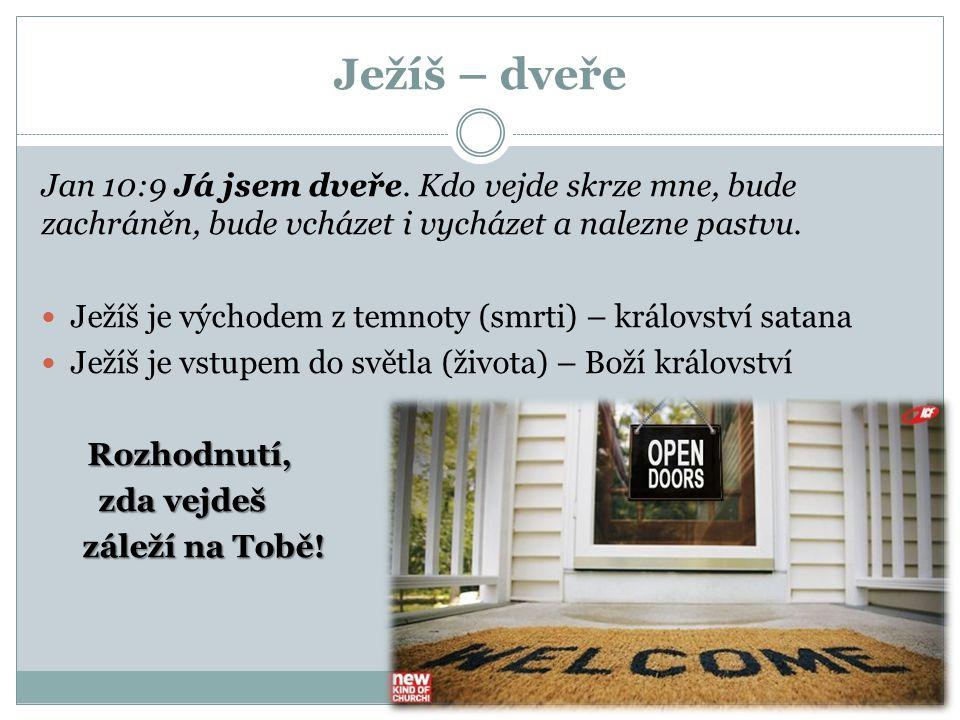 Ježíš – dveře Jan 10:9 Já jsem dveře. Kdo vejde skrze mne, bude zachráněn, bude vcházet i vycházet a nalezne pastvu.