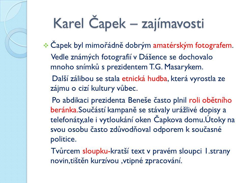 Karel Čapek – zajímavosti