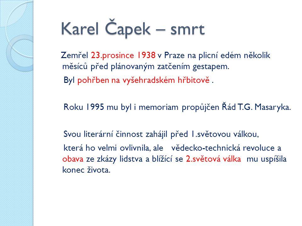Karel Čapek – smrt