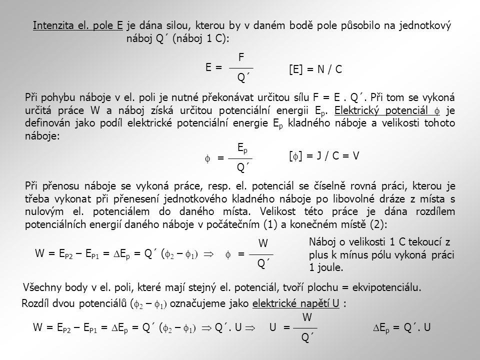 Intenzita el. pole E je dána silou, kterou by v daném bodě pole působilo na jednotkový náboj Q´ (náboj 1 C):
