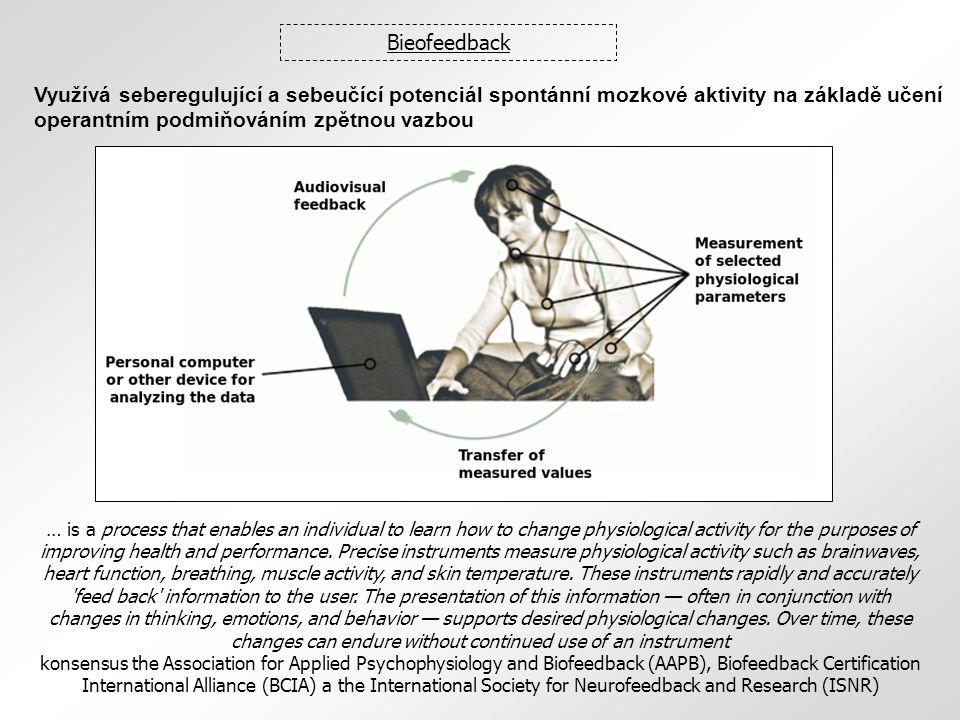 Bieofeedback Využívá seberegulující a sebeučící potenciál spontánní mozkové aktivity na základě učení operantním podmiňováním zpětnou vazbou.