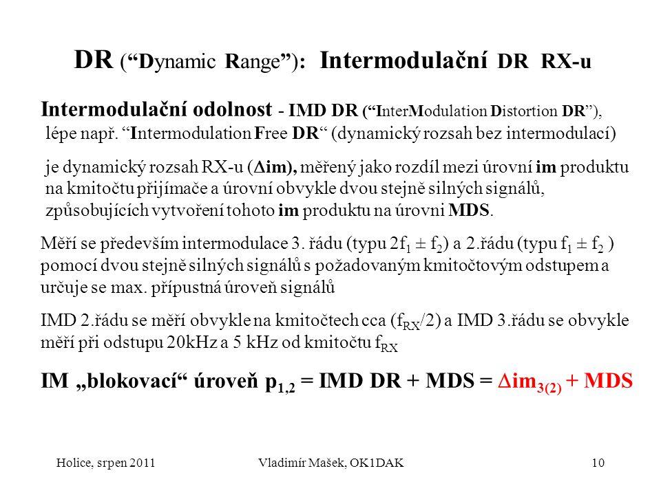 DR ( Dynamic Range ): Intermodulační DR RX-u