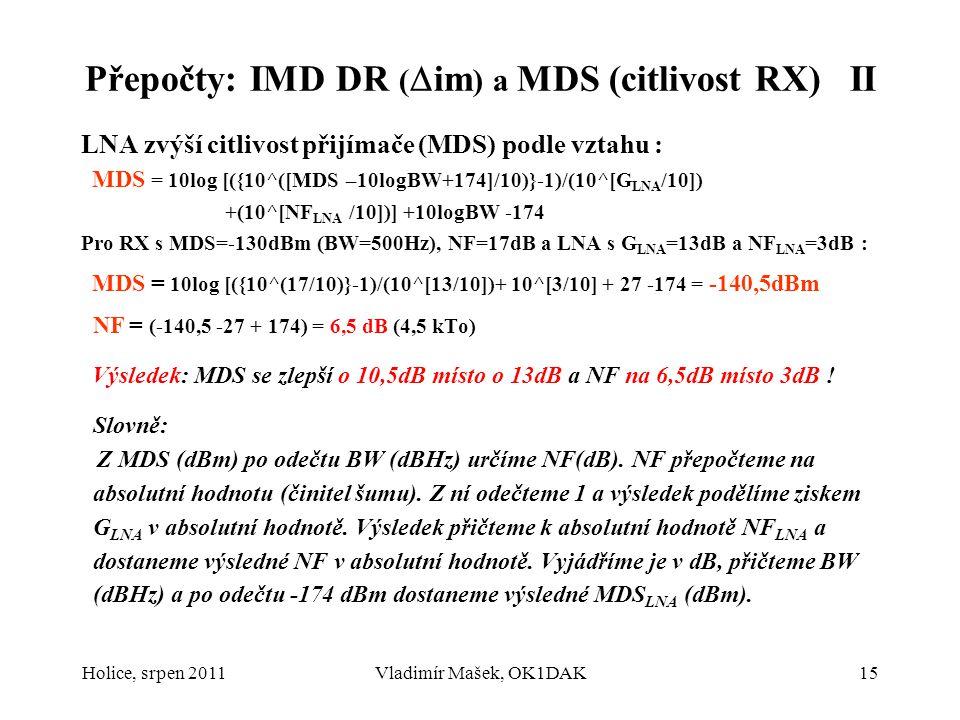 Přepočty: IMD DR (im) a MDS (citlivost RX) II