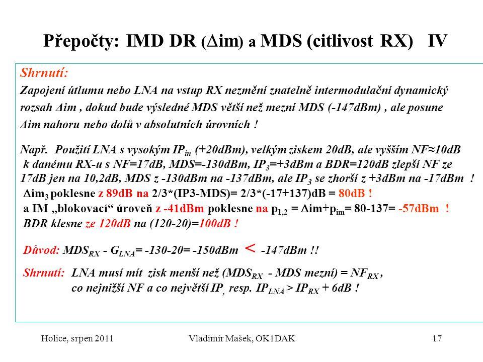 Přepočty: IMD DR (im) a MDS (citlivost RX) IV