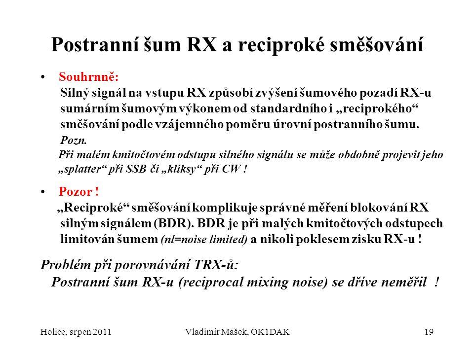 Postranní šum RX a reciproké směšování