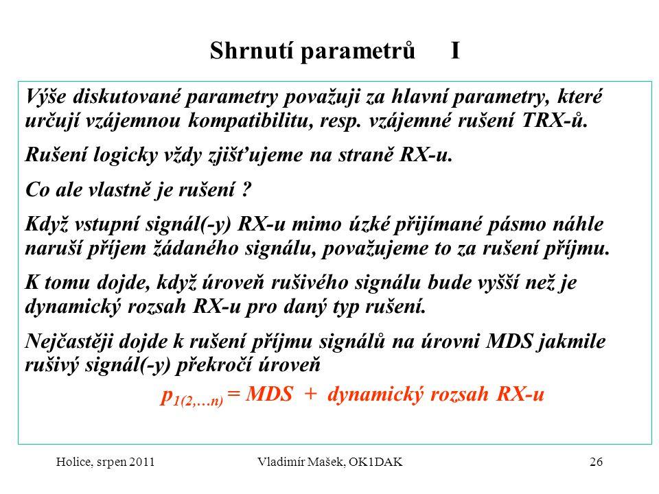 p1(2,…n) = MDS + dynamický rozsah RX-u