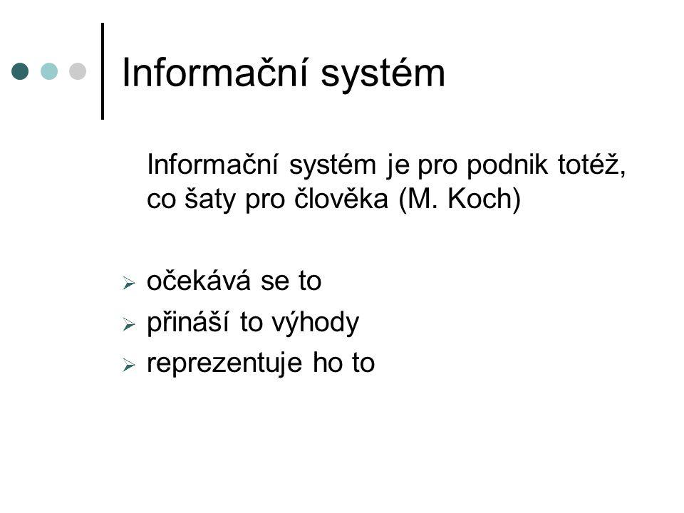 Informační systém Informační systém je pro podnik totéž, co šaty pro člověka (M. Koch) očekává se to.