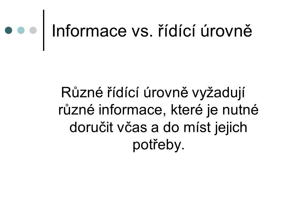Informace vs. řídící úrovně